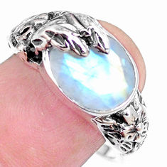 925 silver 5.44cts natural rainbow moonstone oval solitaire ring size 7.5 p18679