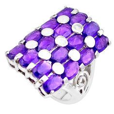 15.46cts natural purple amethyst 925 sterling silver ring size 5.5 p18695