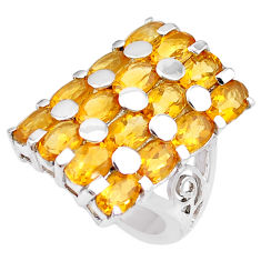 15.94cts natural yellow citrine 925 sterling silver ring jewelry size 6.5 p18698