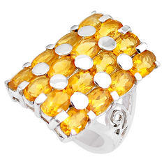 925 sterling silver 15.94cts natural yellow citrine ring jewelry size 6.5 p18699