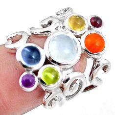 Natural rainbow moonstone cornelian peridot 925 silver ring size 6 p18702