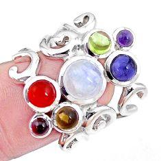 Natural rainbow moonstone cornelian peridot 925 silver ring size 7 p18706