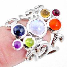 Natural rainbow moonstone cornelian peridot 925 silver ring size 7 p18708
