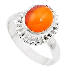5.07cts natural orange mexican fire opal silver solitaire ring size 8.5 p18744