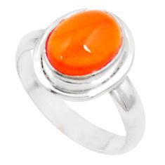 4.47cts natural orange mexican fire opal silver solitaire ring size 6.5 p18754
