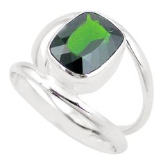 5.75cts natural green chrome diopside 925 silver solitaire ring size 10 p18802