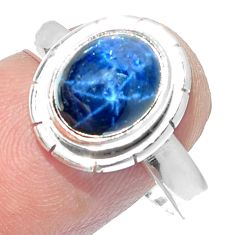 4.53cts NATURAL BLUE STAR SAPPHIRE 925 SILVER SOLITAIRE RING SIZE 8 P18831