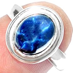 4.17cts NATURAL BLUE STAR SAPPHIRE 925 SILVER SOLITAIRE RING SIZE 5.5 P18847