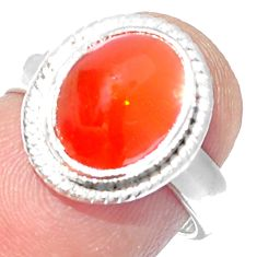 5.38cts NATURAL ORANGE MEXICAN FIRE OPAL SILVER SOLITAIRE RING SIZE 5.5 P18860