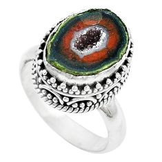 6.20cts natural brown geode druzy 925 silver solitaire ring size 7 p18902