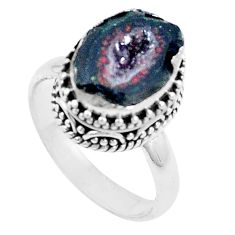 5.62cts natural brown geode druzy 925 silver solitaire ring size 8.5 p18903