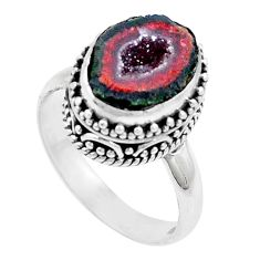 5.80cts natural brown geode druzy 925 silver solitaire ring size 8.5 p18907