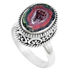 5.80cts natural brown geode druzy 925 silver solitaire ring size 7.5 p18910