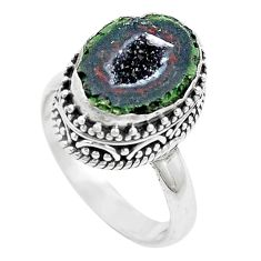 6.32cts natural brown geode druzy 925 silver solitaire ring size 8 p18913