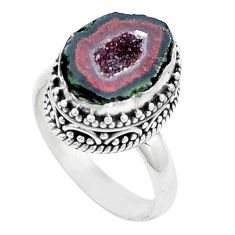 925 silver 5.81cts natural brown geode druzy solitaire ring size 8 p18916