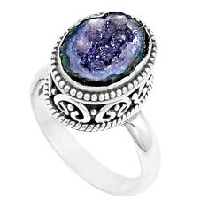 5.18cts natural brown geode druzy 925 silver solitaire ring size 8 p18917