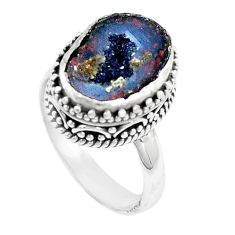 925 silver 5.62cts natural brown geode druzy fancy solitaire ring size 7 p18918