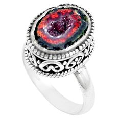 5.81cts natural brown geode druzy 925 silver solitaire ring size 8 p18919