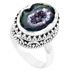 6.53cts natural brown geode druzy 925 silver solitaire ring size 6.5 p18920