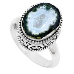 925 silver 5.80cts natural brown geode druzy fancy ring size 8 p18940
