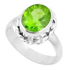 5.13cts natural green peridot 925 silver solitaire ring jewelry size 7.5 p18961