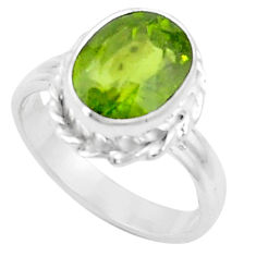 5.38cts natural green peridot 925 silver solitaire ring jewelry size 8 p18963