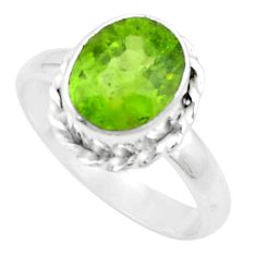 5.06cts natural green peridot 925 silver solitaire ring jewelry size 9 p18965
