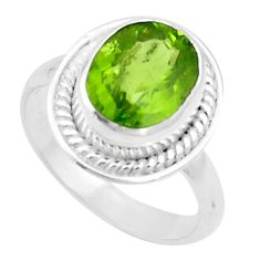 5.52cts natural green peridot 925 silver solitaire ring jewelry size 7.5 p18970