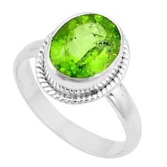 5.52cts natural green peridot 925 silver solitaire ring jewelry size 9.5 p18971