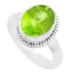 5.12cts natural green peridot 925 sterling silver solitaire ring size 8 p18987