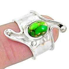 2.33cts green copper turquoise 925 silver adjustable ring size 5.5 p19001