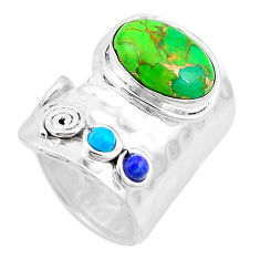 6.31cts green copper turquoise turquoise lapis 925 silver ring size 9 p19062