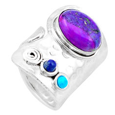 6.42cts natural blue lapis lazuli turquoise 925 silver ring size 6.5 p19069