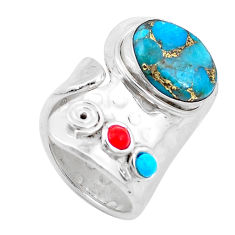 5.98cts blue copper turquoise turquoise coral 925 silver ring size 6.5 p19075