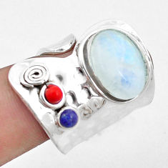 Natural rainbow moonstone lapis lazuli coral 925 silver ring size 7.5 p19076