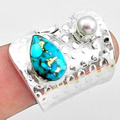 925 sterling silver 5.23cts blue copper turquoise white pearl ring size 7 p19091