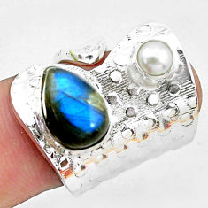 5.07cts natural blue labradorite white pearl 925 silver ring size 6 p19096