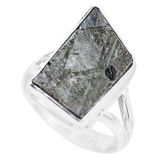10.24cts natural grey meteorite gibeon 925 silver solitaire ring size 7 p19461