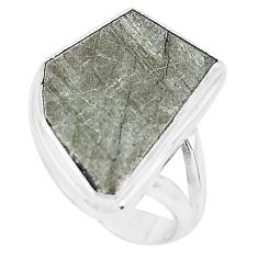 10.84cts natural grey meteorite gibeon 925 silver solitaire ring size 6.5 p19467