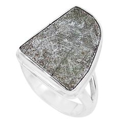 925 silver 10.60cts natural grey meteorite gibeon solitaire ring size 6.5 p19491