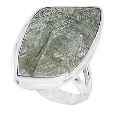 12.64cts natural grey meteorite gibeon 925 silver solitaire ring size 9 p19496