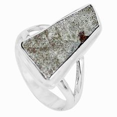 9.03cts natural grey meteorite gibeon 925 silver solitaire ring size 7 p19499