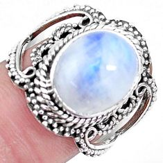 4.98cts natural rainbow moonstone 925 silver solitaire ring size 7 p19605