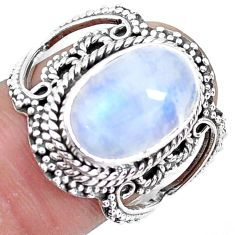 925 silver 5.30cts natural rainbow moonstone solitaire ring size 7 p19609