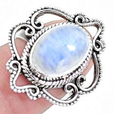 5.07cts natural rainbow moonstone 925 silver solitaire ring size 7.5 p19612