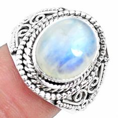 5.18cts natural rainbow moonstone 925 silver solitaire ring size 8.5 p19618