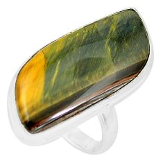 20.35cts natural brown tiger's hawks eye 925 silver solitaire ring size 8 p19775