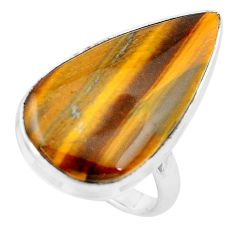 17.93cts natural brown tiger's hawks eye 925 silver solitaire ring size 8 p19779