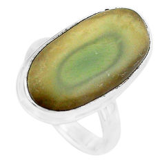 13.71cts natural brown imperial jasper 925 silver solitaire ring size 7 p19806