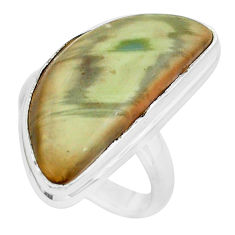15.97cts natural brown imperial jasper 925 silver solitaire ring size 7.5 p19813